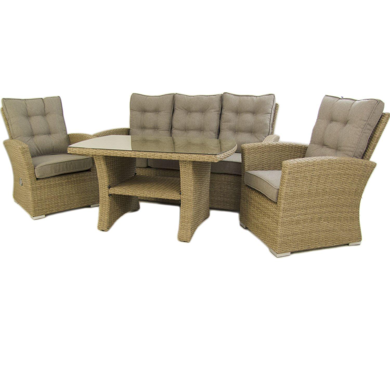 Edenjardi Conjunto sofás de Exterior | Mesa Centro 120 cm, 2 butacas y 1 sofá 3 plazas | Color Natural | Aluminio y rattán sintético | 5 plazas | ...