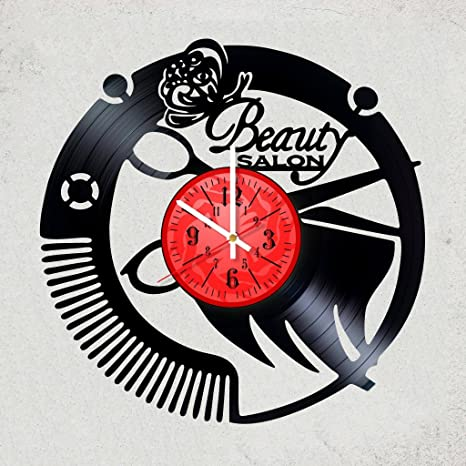 Amazon Com Home Decor Usa Beauty Salon Women Vinyl Wall Clock