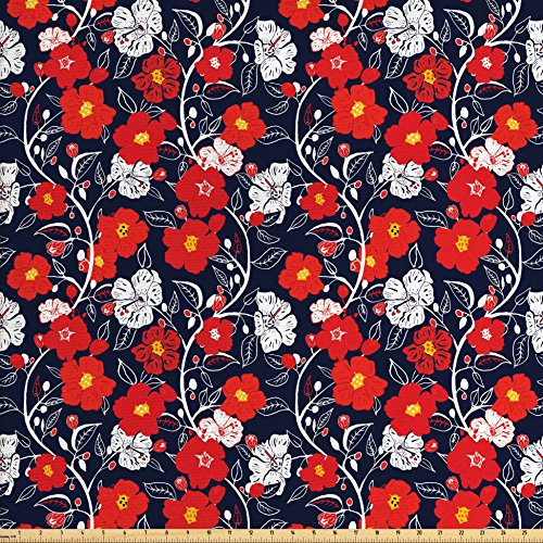 Floral Fabric by the Yard by Lunarable, Abstract Bouquet of Spring Blooms Vibrant Petals on Dark Backdrop, Decorative Fabric for Upholstery and Home Accents, Dark Blue Vermilion - Dark Vermilion