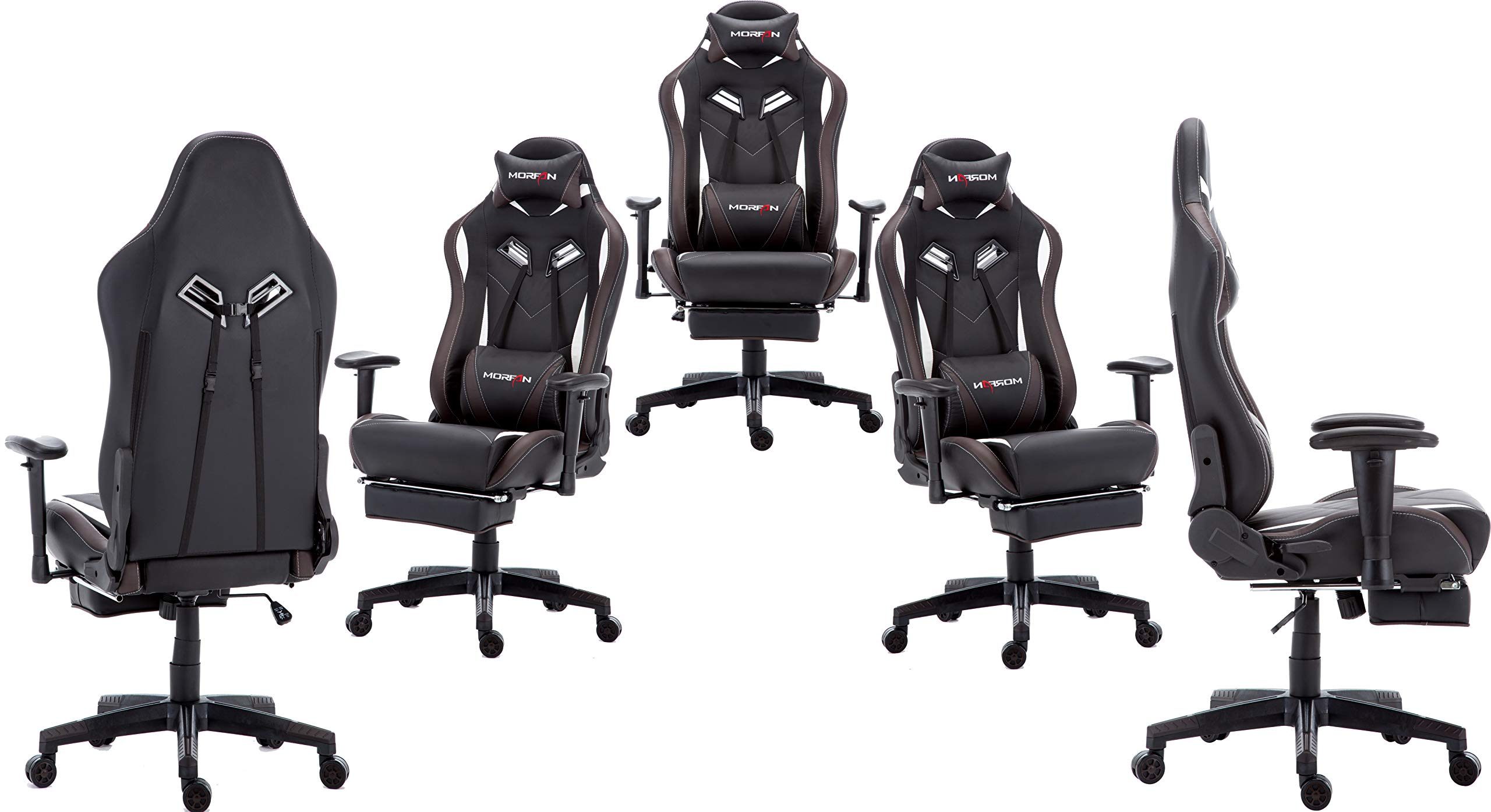 Morfan Gaming Chair Large Size Massage Function Ergonomic Racing Style PC Computer Office Chair with Retractable Footrest & Adjustable Lumbar and Headrest Pillows (Black/Brown) by MORFAN (Image #2)