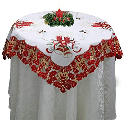 creative linens holiday christmas tablecloth 33 square embroidered red poinsettia candle bell table topper white - Square Christmas Tablecloth