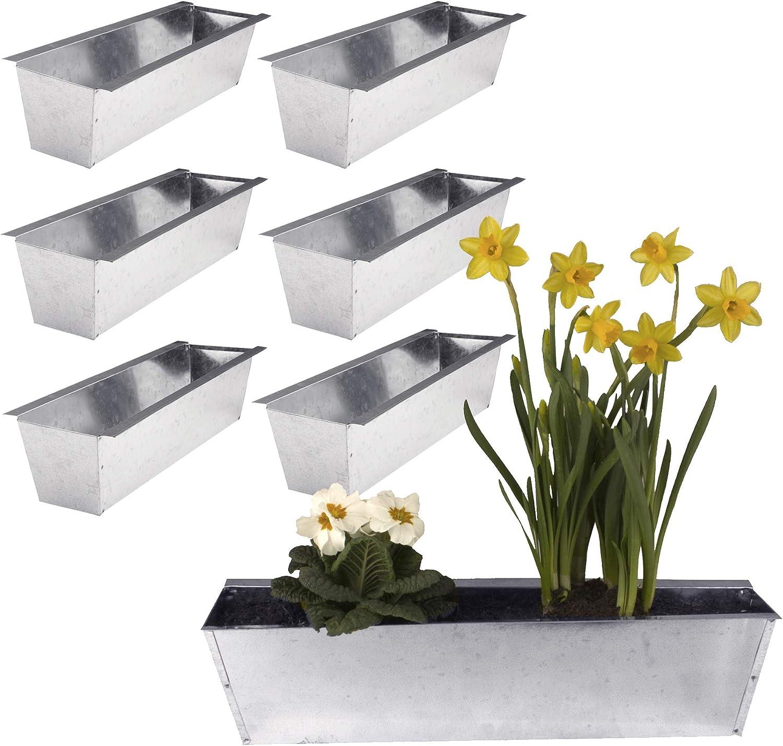 6 Macetas gefäße Depósito metal galvanizado para Palets Jardín Decoración: Amazon.es: Jardín