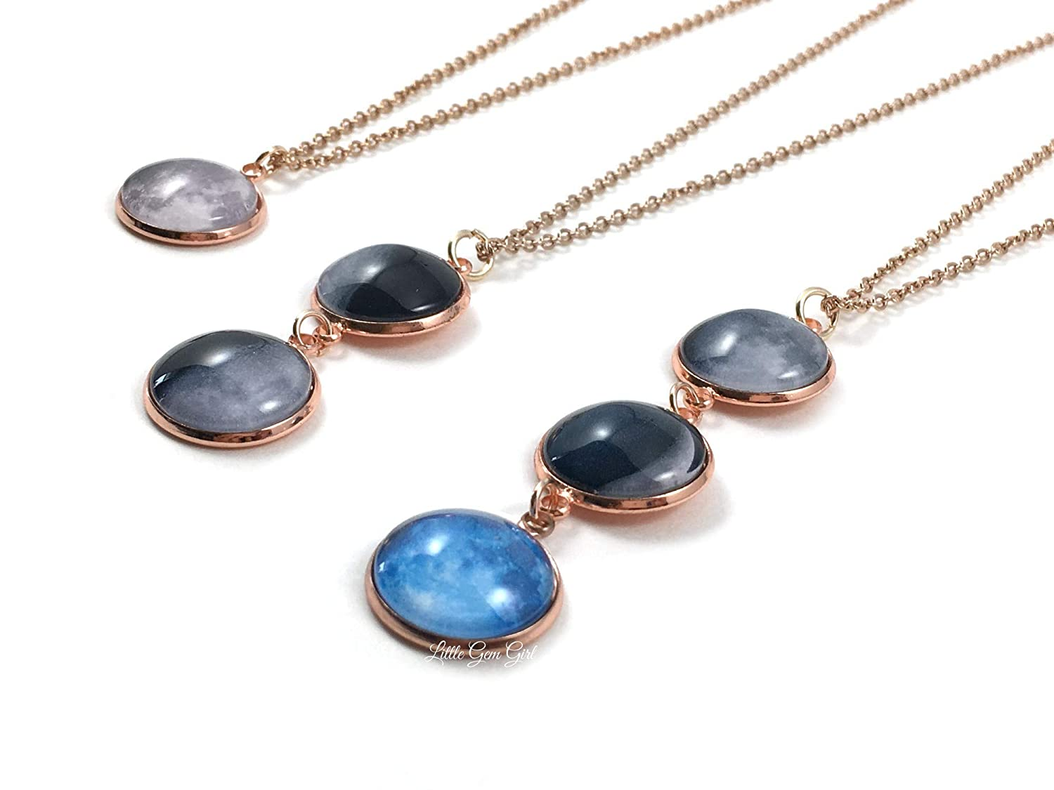 Moon Pendant Moon Hammered Necklace Charms 3 Holes 2 Pcs RoseGold Plated Moon Charms Necklace Pendant 25x6 mm-RSGLD-261