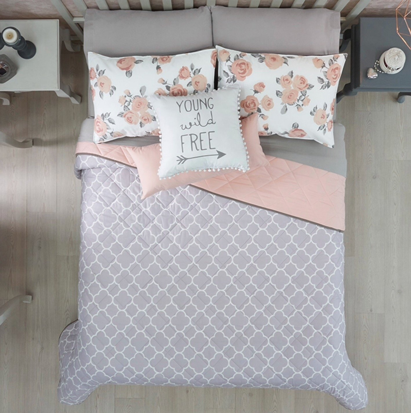 LIMITED EDITION FREE PINK/GRAY TEENS GIRLS CUTE COLLECTION REVERSIBLE COMFORTER SET AND SHEET SET 6 PCS TWIN SIZE