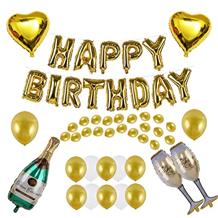 Kwayi Birthday Supplies Gold Balloon Decoration Set With HAPPY BIRTHDAY Foil Large Champagne Balloons