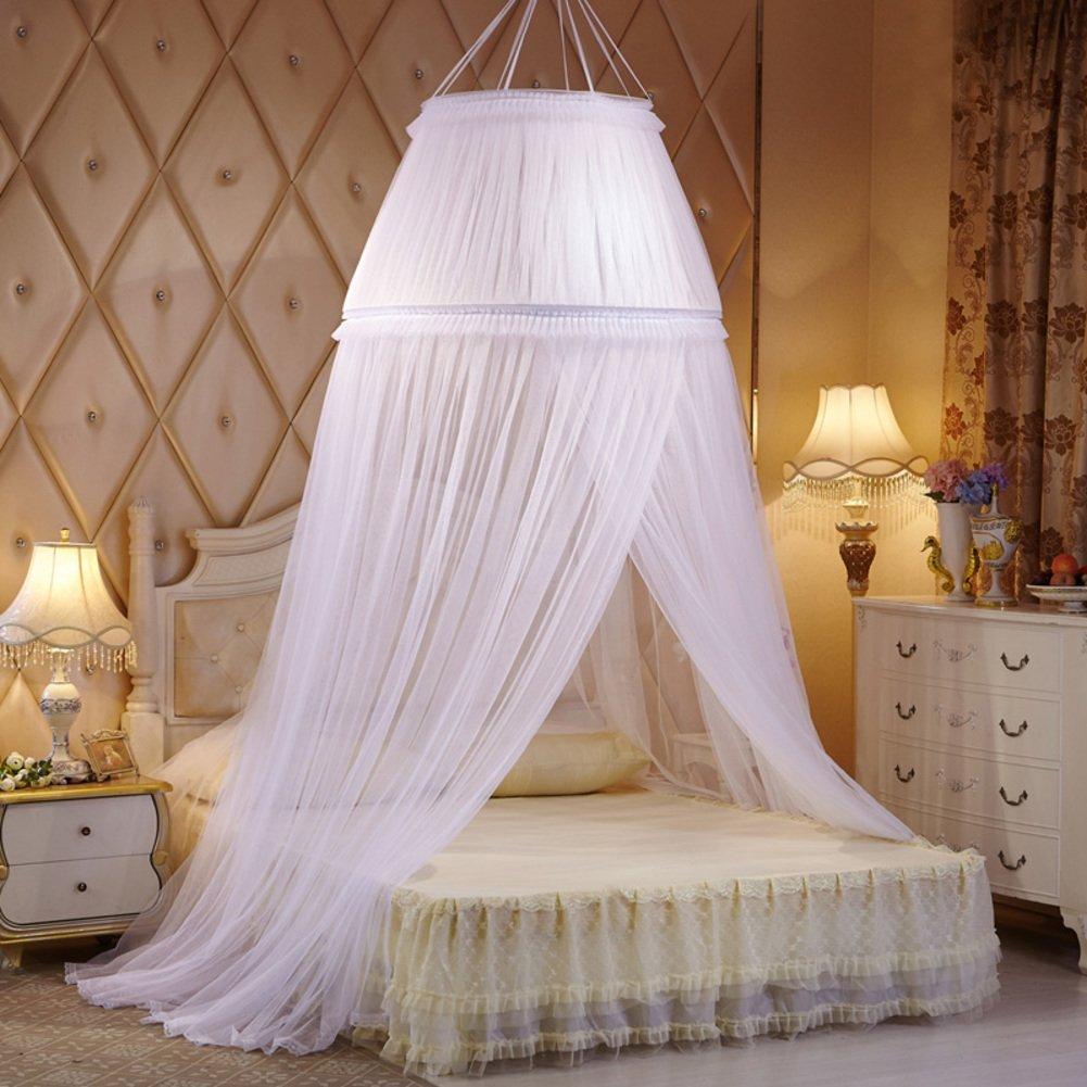 HUEHFUEGF レースリボン ドームベッドキャノピー ドームパレス蚊帳 吊り下げプリンセススタイル ベッドキャノピーカーテン ツインクイーンとキングサイズベッド用 1クイーンサイズ B07BYSSLK7