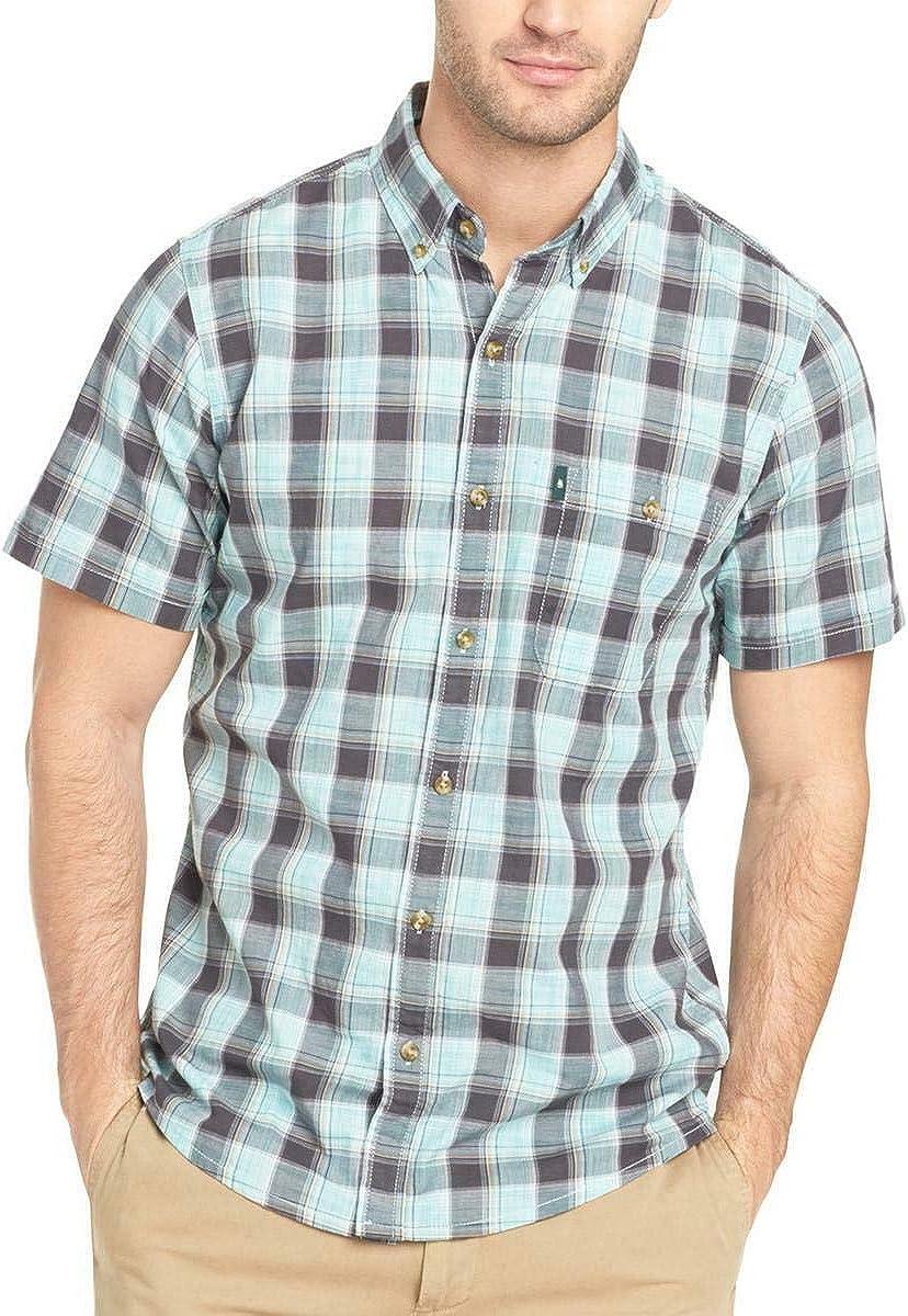 B07XY9SC8F G.H. Bass & Co. Men's Madawaska Plaid Shirt, Aqua Haze, Size XL 71o8M6hvUSL