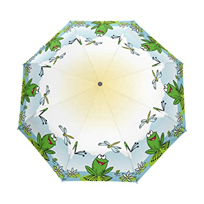 Aideess Funny Cartoon Frog Windproof & Waterproof Compact Travel Umbrella - Auto Open Close Folding Umbrella Sturdy Lightweight Easy Carrying Parasol for Men Women and Kids