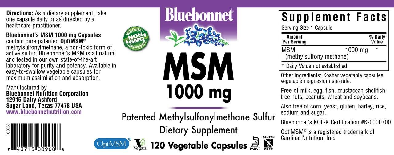BlueBonnet MSM Supplement, 120 Count