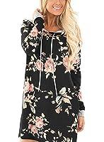 Xuan2Xuan3 Womens Long Sleeve Thin Pullover Flower Print Casual Loose Hoodies Sweatshirts Tunic Mini Shirt Dress With Pocket