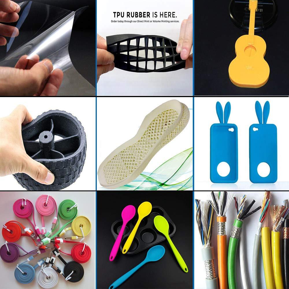 Black E-DA TPU Filament 1.75mm 1Kg,3D Printer Filament Low Odor Flexible Suitable for Most 3D printers