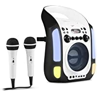 auna Kara Illumina • Equipo de Karaoke • Reproductor de CD y MP3 • Puerto USB • Entrada AUX • Salida de Video RCA • 2 x micrófonos 6,3 mm • Iluminación LED • Regulador Volumen • Color Blanco