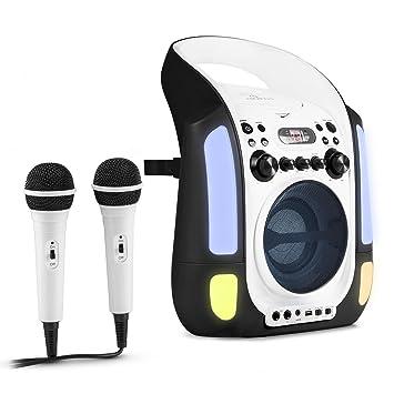 auna Kara Illumina • Kinder Karaoke Anlage • Karaoke Player • Karaoke Set • 2 x dynamisches Mikrofon • CD+G-Player • Top-Load
