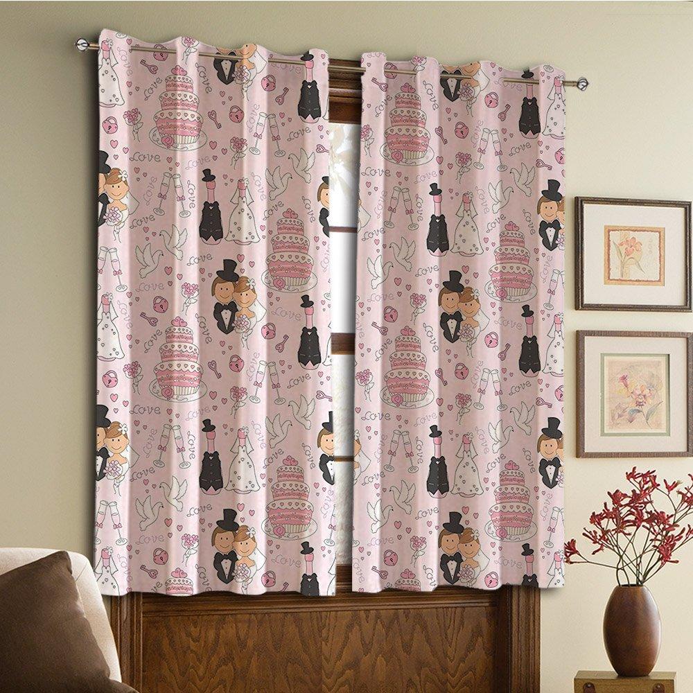 カスタムデザインカーテン/ヴィンテージレースウィンドウカーテン/ Grommet Topの熱の断熱カーテン寝室とkitchen-set遮光カーテン/ 2パネル( ND Drawnパターンケーキ結婚のカップル) 45