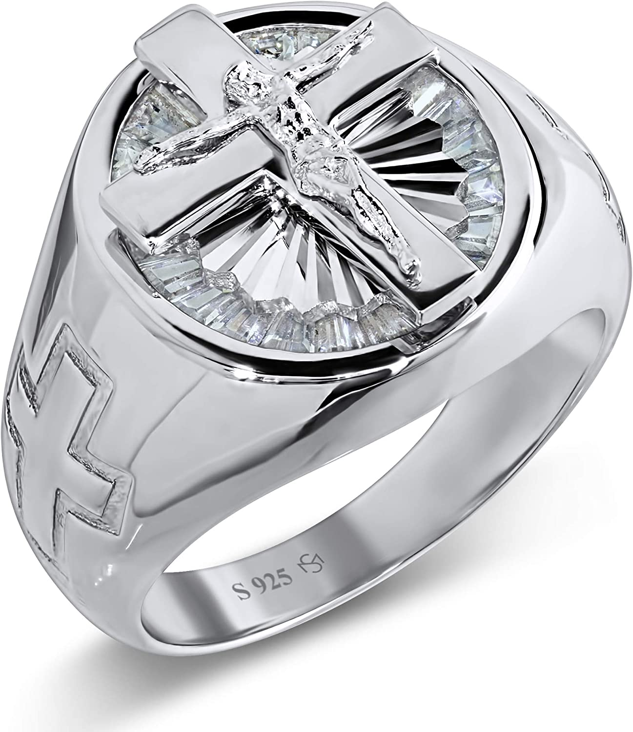 [2-5 Days Delivery] Men's Sterling Silver .925 Jesus Cross Crucifix Ring with 22 Baguette Cubic Zirconia (CZ) Stones, Platinum Plated Jewelry