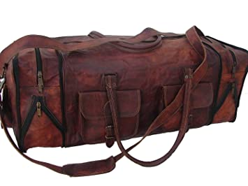 "24/""Men/'s genuine Leather luggage gym clothing overnight duffle bag large vintage"