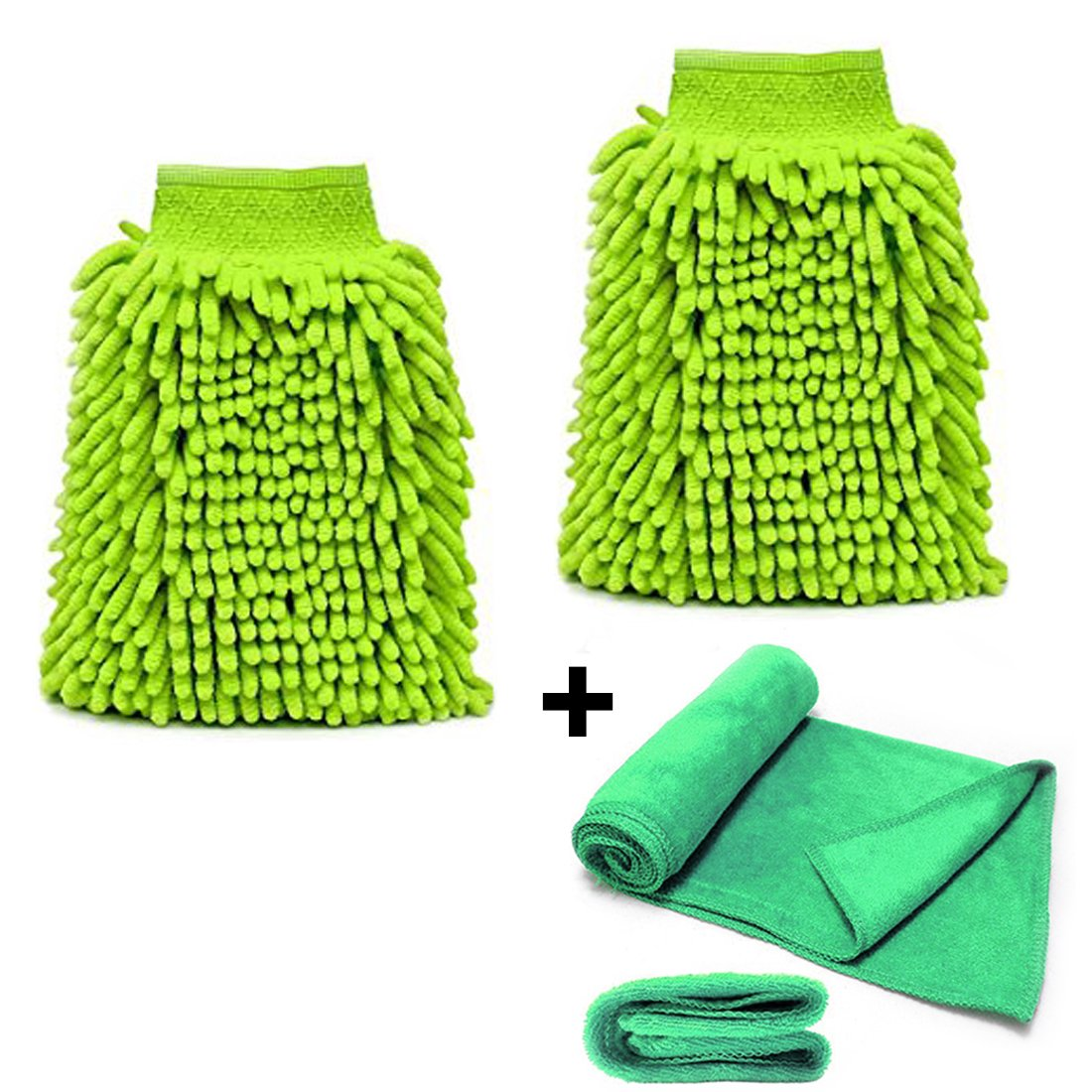 Car Wash Mitts Newland (2-Packs) With Free Microfiber Cleaning Cloth Premium Chenille Microfiber Car Wash Mitt Gloves For Car Wood Mirrors Furniture Glass (Large-any adult, Fluorescent Green) ST001-LightGreen