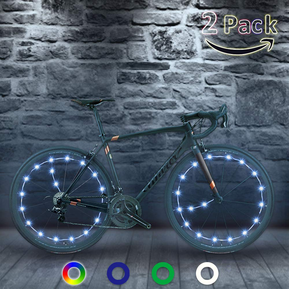 TIPEYE LED Bike Wheel Lights (2 Pack) IP65 Waterproof with Batteries Included Easy to Install Burning Man Bike Spoke Decorations Visible from All Angles for Ultimate Safety and Kids by TIPEYE