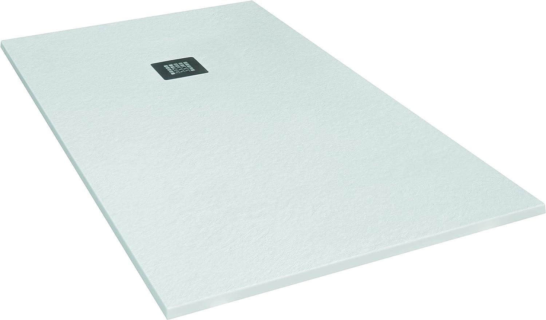 SEVIBAN - Modelo ALTAIR - Plato de Ducha de Resina con Carga Mineral - Textura Pizarra - Blanco Ral:9003 (70 x 110): Amazon.es: Bricolaje y herramientas