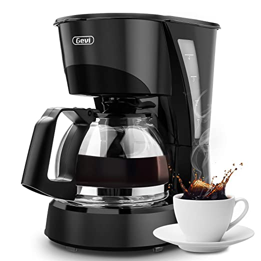Drip Coffee Maker GEVI 4 Cup Coffee Machine Work in Silent Coffee Brewer with Coffee Pot and Filter for Home and Office