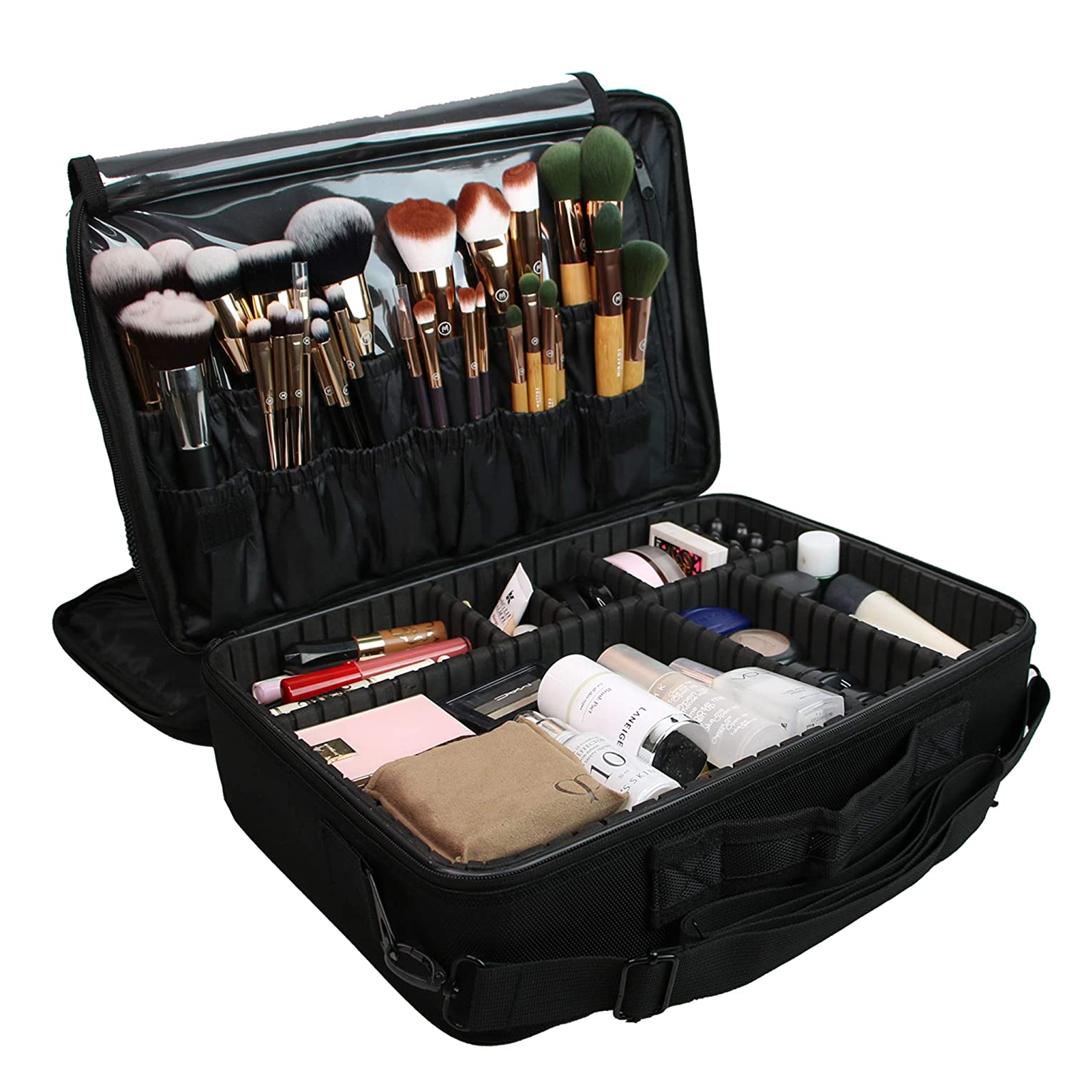 Large Professional Makeup Train Case Cosmetic Bag Brush Organizer and Storage 16 Travel Make Up Artist Box 3 Layer Capacity with Adjustable Dividers