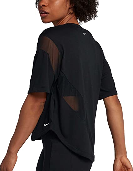 86704065dc Amazon.com: NIKE Womens Dry Studio Training Shirt (Black, Large ...