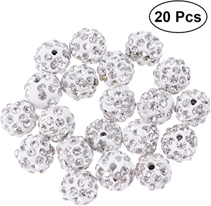 20Pcs Premium Czech Crystal Rhinestones Pave Clay Round  Ball Spacer Beads 10 mm