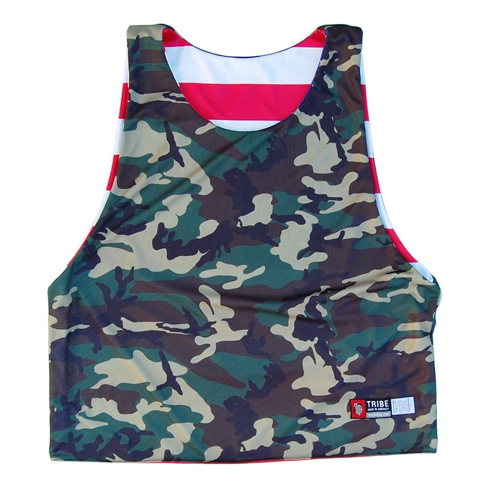 American Flag and Camo Sublimated Sublimated Reversible Lacrosse Pinnie