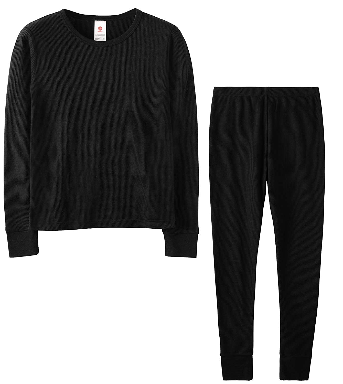LAPASA Bambina Girl 4-12 Anni Set Intimo Termico in Cotone- Materiale Naturale - T-Shirt Maniche Lunghe & Pantaloni Invernali G06