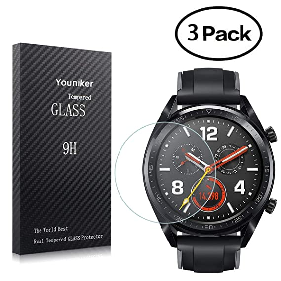 Youniker 3 Pack for Huawei Watch GT Screen Protector Tempered Glass for Huawei Watch GT Smart Watch Screen Protectors Foils Glass 9H ...