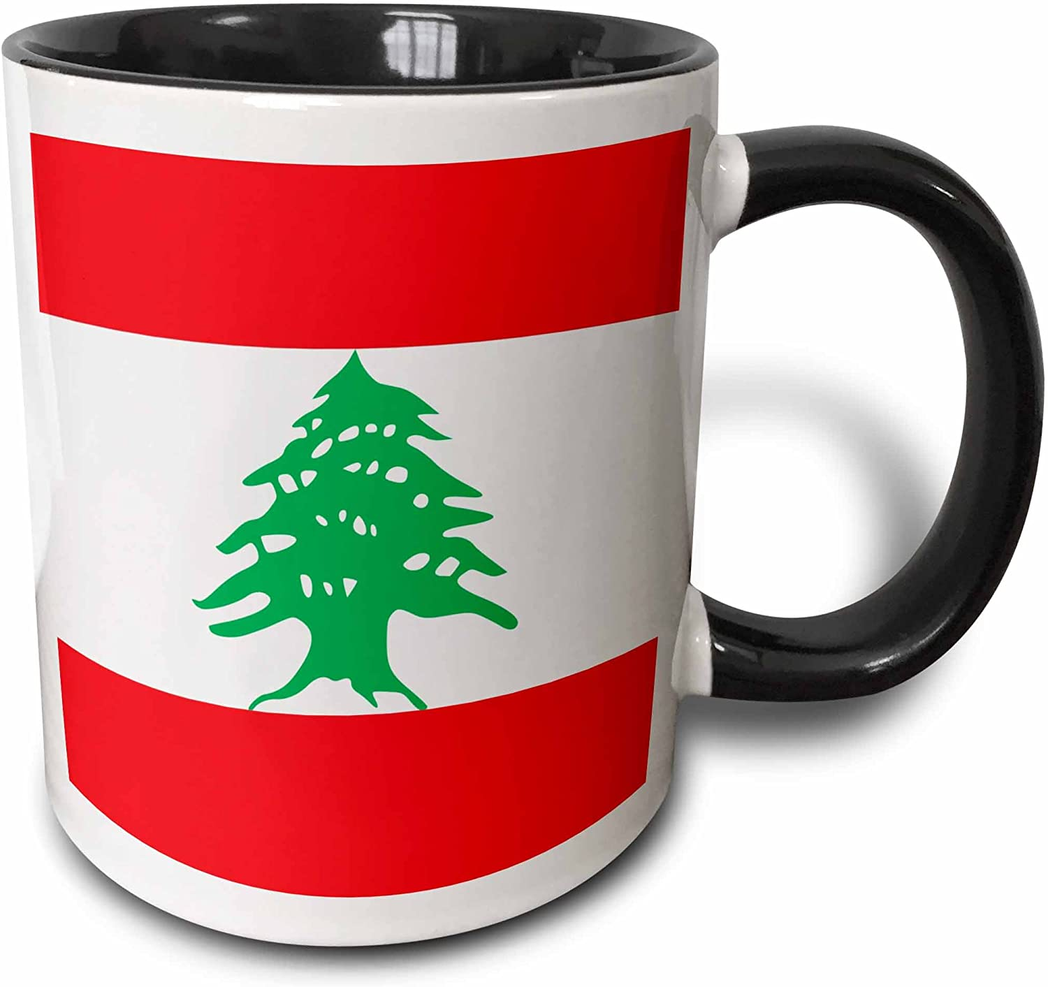 3dRose Flag of Lebanon - Lebanese red and white stripes with green cedar tree Mug, 11 oz, Black