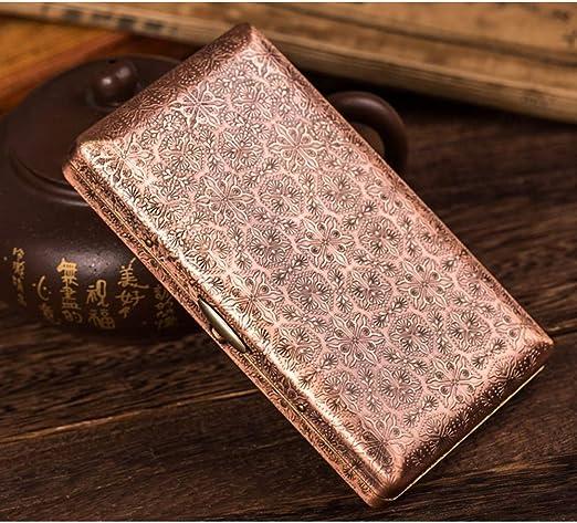 EEKUY Estuche de Almacenamiento de Tabaco en Relieve, Estuche de Cigarrillo de Cobre Puro para 20 Cigarrillos Delgados Gentleman Essential 4.3 X 2.5 X 0.71 ,B: Amazon.es: Hogar