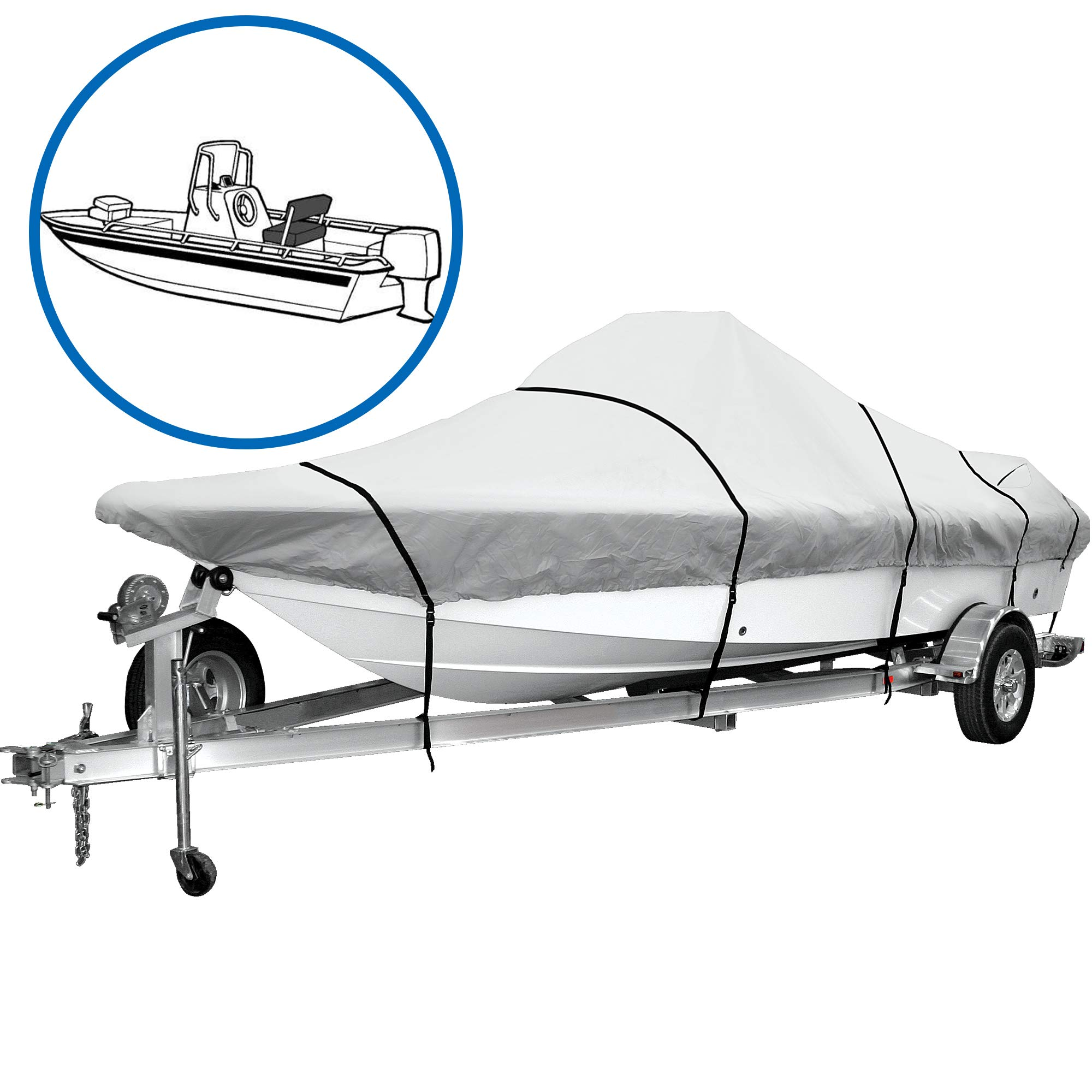 iCOVER Water Proof Heavy Duty Trailerable Boat Cover,Fits V-Hull Center Console Boat 17ft-19ft Long and Beam Width up to 96in, Windshield Height up to 30in,Grey Color, B7302A by i COVER