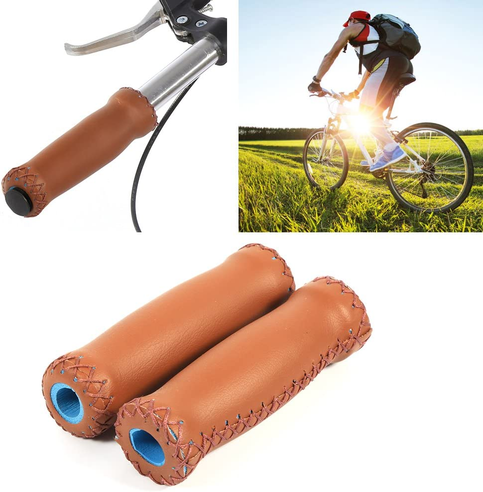 Alomejor 1 par de empu/ñaduras para Manillar de Bicicleta Coloridas de Cuero Artificial para Ciclismo