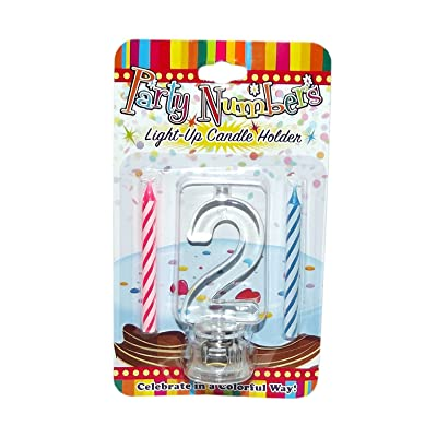 Party Numbers # 2 Light-Up Candle Holder: Toys & Games