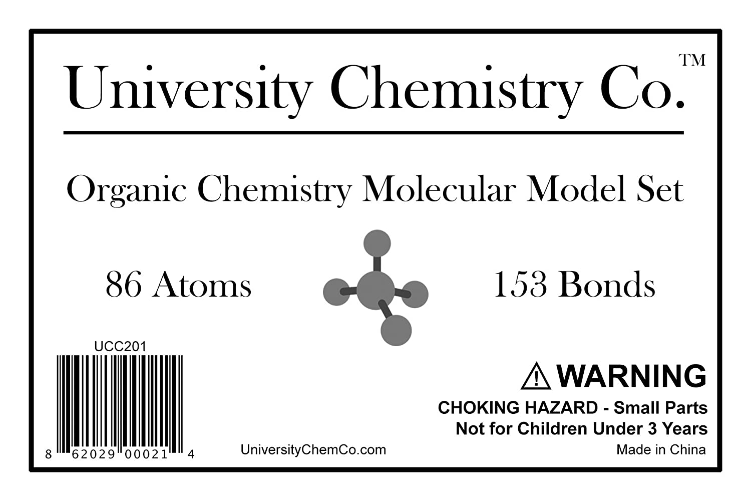 Molecular Model Kit for Organic & Inorganic Chemistry - 86 Atoms & 153  Bonds (239 Total Pieces) by University Chemistry Co