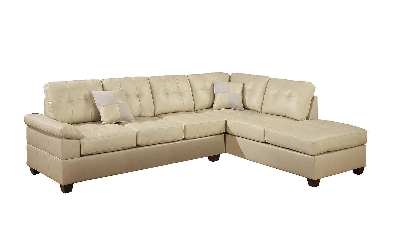 Amazon.com: Poundex Bobkona Randel Bonded Leather 2 Piece Reversible Sectional  Sofa, Khaki: Kitchen U0026 Dining
