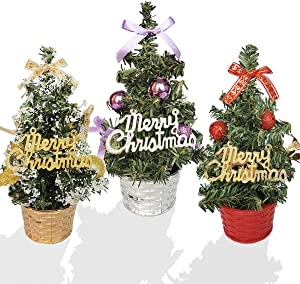 Feiyuan Small Christmas Tree Mini Christmas Trees Small Christmas Tree Xmas Decoration Xmas Ornament for Table, Desk Tops, Home Decor, Office (3pcs/20cm)