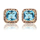 Amazon Price History for:AnaZoz Jewelry 18K Gold Plated Square Stud Earring Rose Gold Platinum SWA Elements Zirconia Earrings