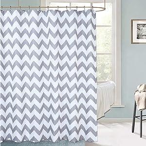 Haperlare Chevron Shower Curtain, Waterproof Grey Fabric Shower Curtain for Bathroom, Striped Shower Curtain with Rustproof Grommets, 72