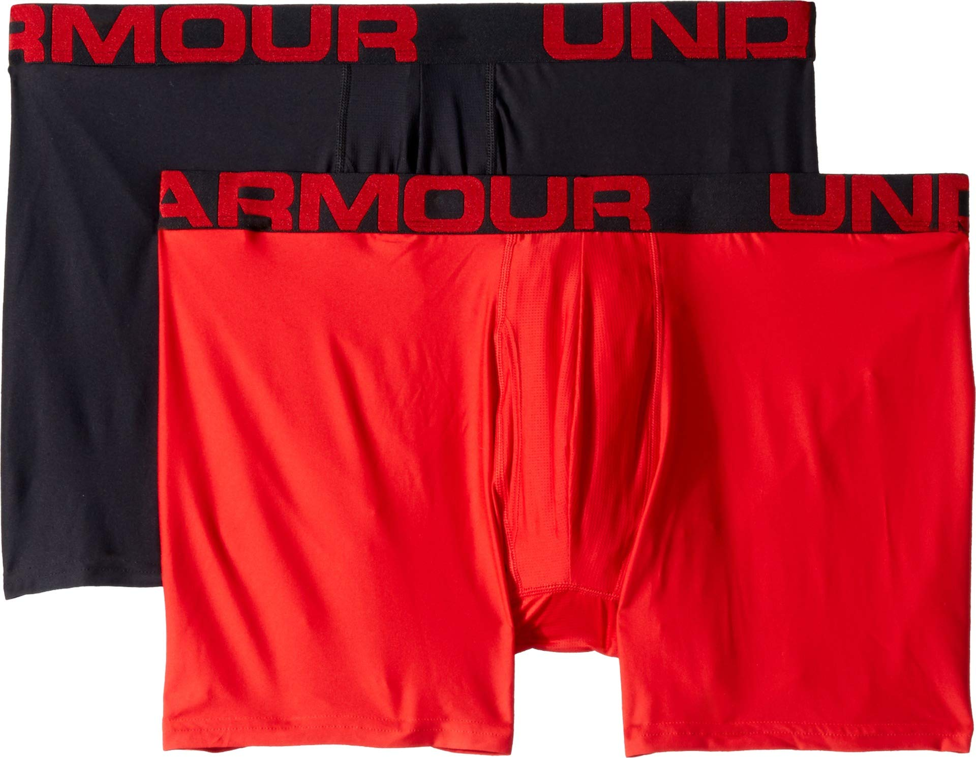 Under Armour mens Tech 6-inch Boxerjock 2-Pack, Red (600)/Black, Large by Under Armour