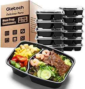 Glotoch 28ounce Meal Prep Containers Set with Lid , 42 Pack Stackable Wholesale 2 Compartment Square Food Storage Containers Bento Box-Microwave, Freezer & Dishwasher Safe