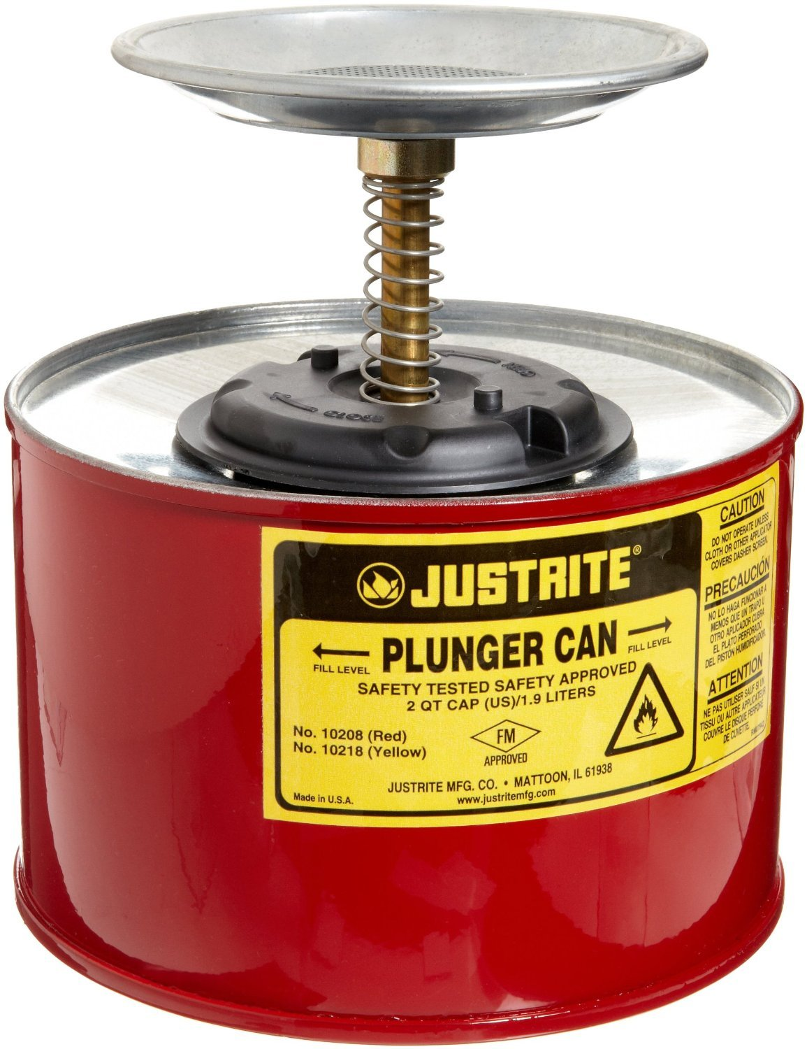 Justrite 10208 2 Quart Red Galvanized Steel Safety Plunger Can with 5 Dasher Plate and Brass/Ryton Plunger Assembly, Plastic, 1'' x 1'' x 7.38''