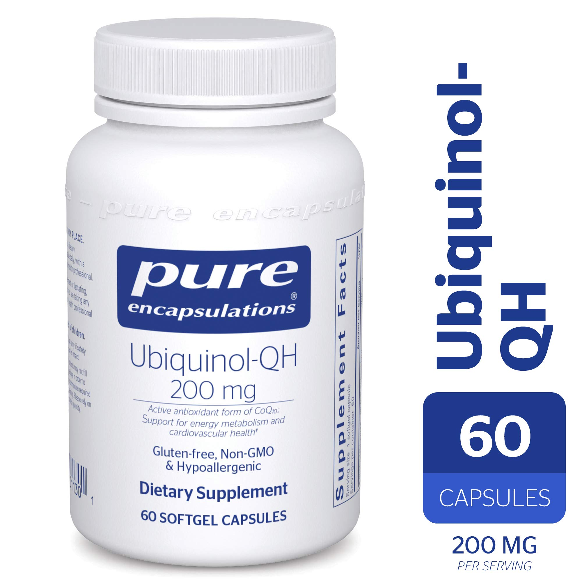 Pure Encapsulations - Ubiquinol-QH 200 mg - Hypoallergenic Supplement - Active Antioxidant Form of CoQ10-60 Softgel Capsules by Pure Encapsulations (Image #1)