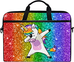WXLIFE Colorful Rainbow Cute Unicorn 13 13.3 14 Inch Laptop Shoulder Messenger Bag Case Sleeve Briefcase with Handle Strap for Men Women Boys Girls