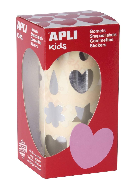 Rollo gomets formas surtidas plata APLI Kids
