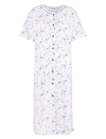 ab7455a711 Slenderella Ladies Jersey Cotton Floral Nightdress Short Sleeve Button Up  Nightie UK 24 26 (