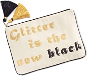Madden Girl Glitter Is The New Black 14x10-in Large Canvas Glitter Pouch