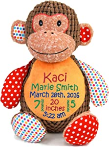 HARD EDGE DESIGN Personalized Stuffed Harlequin Monkey with Embroidered Baby Block in Red, Green, and Blue