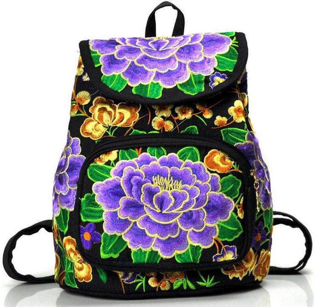 Blue Peony Embroidery Women Backpack Canvas Shoulder Bag Rucksack